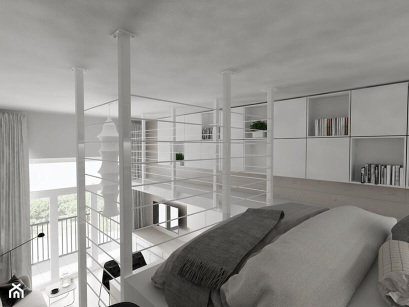 projekt minimalistycznego loftu Piotra Skorupskiego ze Studia Architektury biała przestrzeń na antresoli