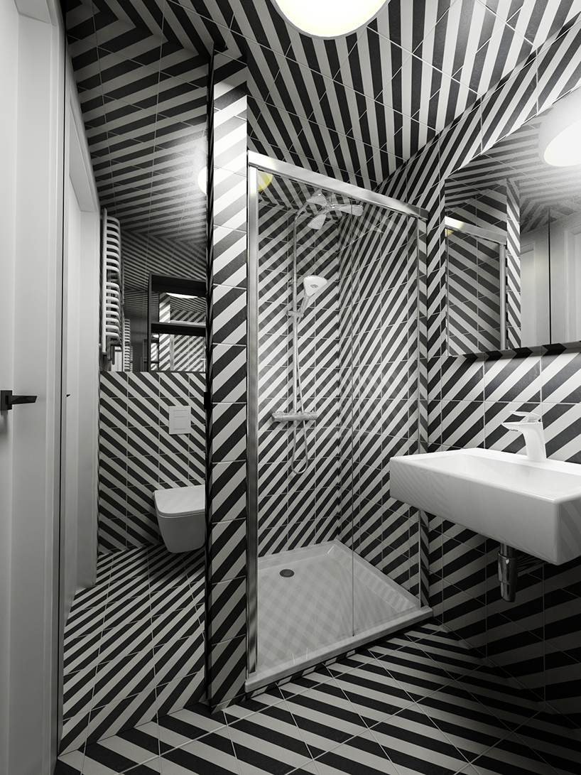projekt minimalistycznego loftu Piotra Skorupskiego ze Studia Architektury łazienka wbiało czarne paski