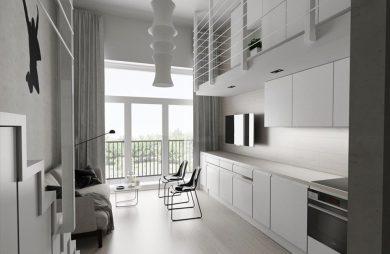projekt minimalistycznego loftu Piotra Skorupskiego ze Studia Architektury biała kuchnia połączona z salonem