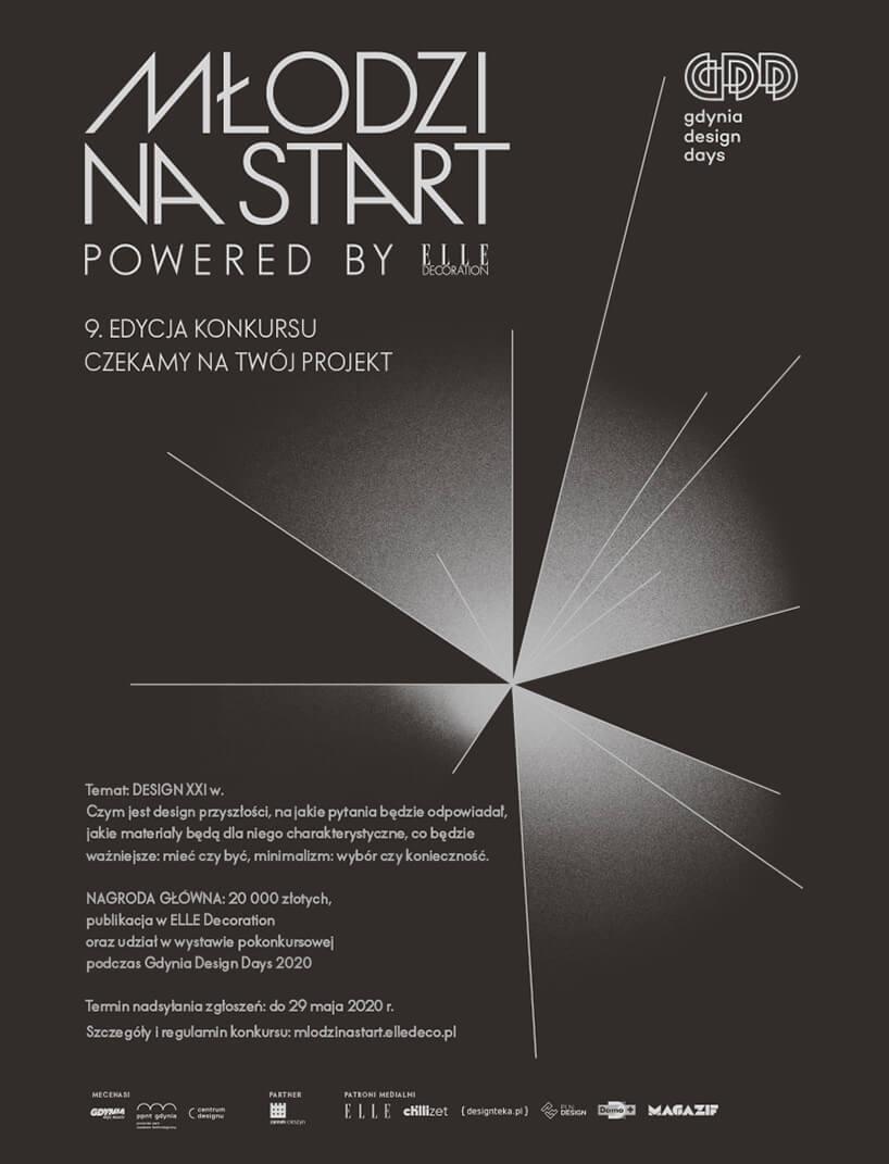 czarno szary plakat konkursu Młodzi na Start 2020