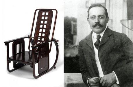 brązowe modernistyczne krzesło i Josef Hoffmann