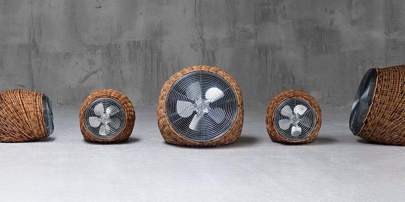 pięć wentylatorów wkoszu wiklinowych zbliska