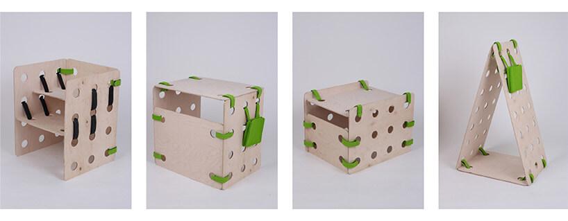 elementy modułowego zestawu dla dzieci ze sklejki izielonych pasków