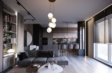 Monochromatyczne mieszkanie w skali szarości
