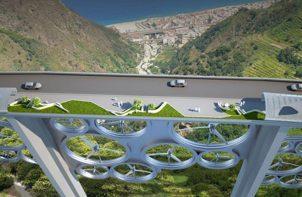 projekt mostu z turbinami wiatrowymi