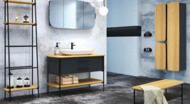 łazienka zmotywem kamienia na ścianach ipodłodze zczarnymi meblami zdrewnianymi wykończeniami
