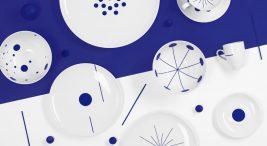 talerze irożnych biało-fioletowych wzorach