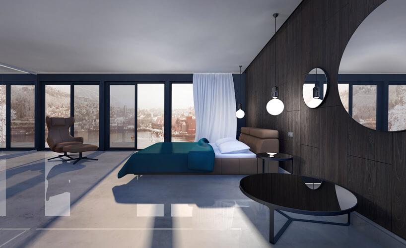 aranżacja dużej sypialni ze szklaną ścianą