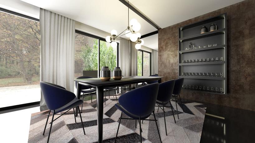 brązowa jadalnia zczarnym stołem ifioletowymi krzesłami na tle przeszklonej ściany