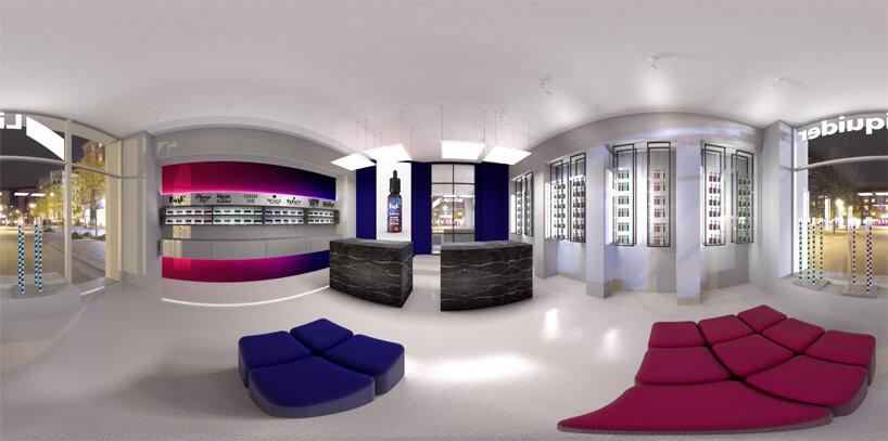 wizualizacja 360 VR sklepu wszarościach zfioletowymi iróżowymi akcentami