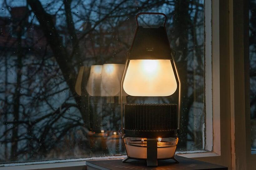 nowoczesna lampa wkształcie jajka zgórnym elementem świecącym
