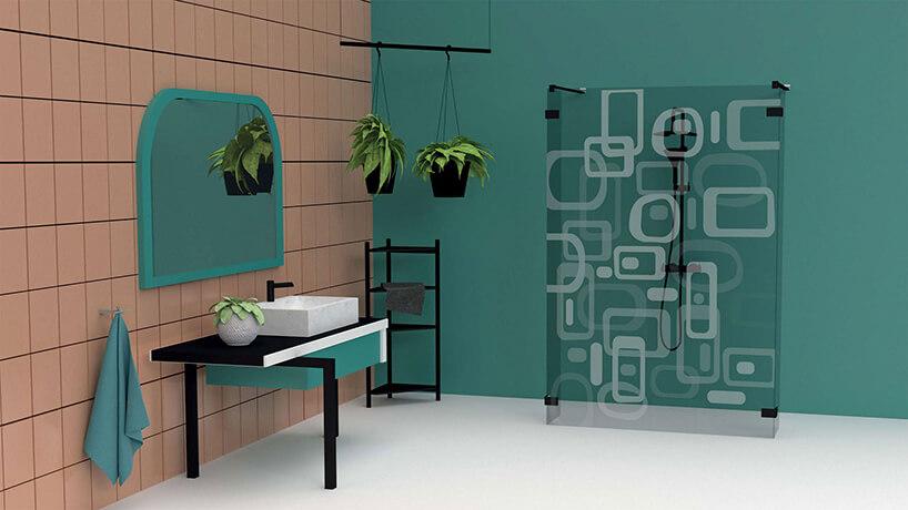 projekt grawerunku na szybie Olgi Mazur wkonkursie Radaway motyw kwadratów iprostokątów