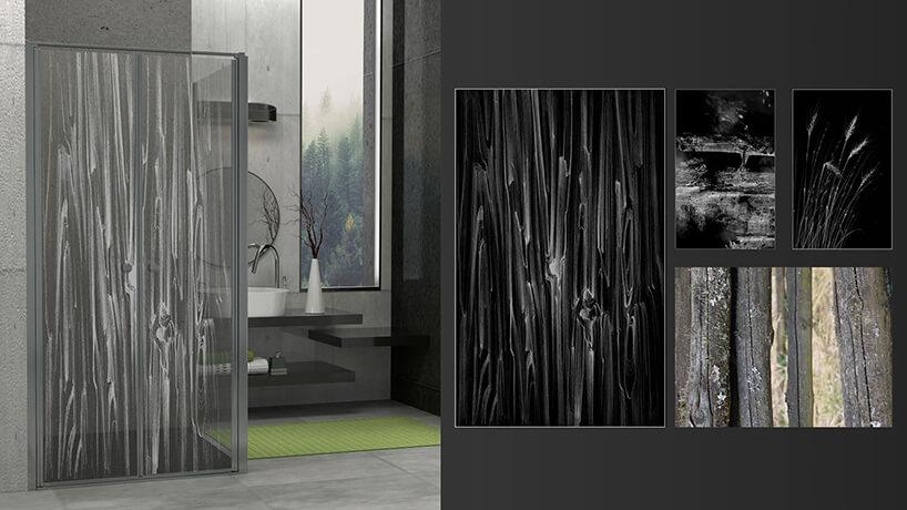 projekt grawerunku na szybie Remigiusza Szulca wkonkursie Radaway motyw drewna izboża
