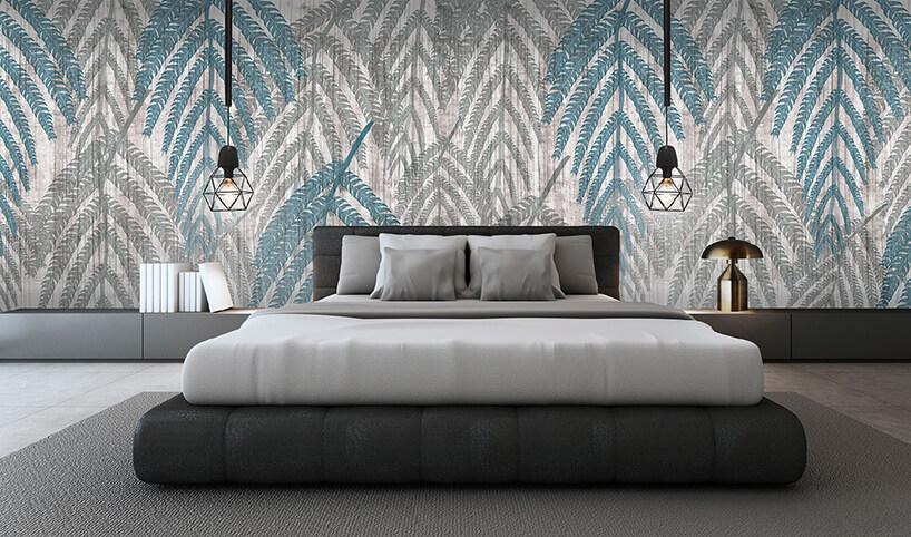 nowoczesna tapeta Hawaii zmotywem roślinnym jako tło dla eleganckiej sypialni