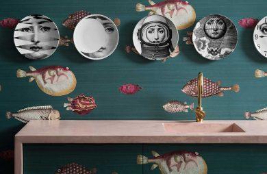kuchnia z zieloną tapetą Acquario z motywem rysunkowych ryb