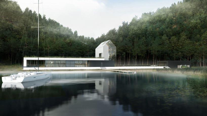 biały dom nad jeziorem