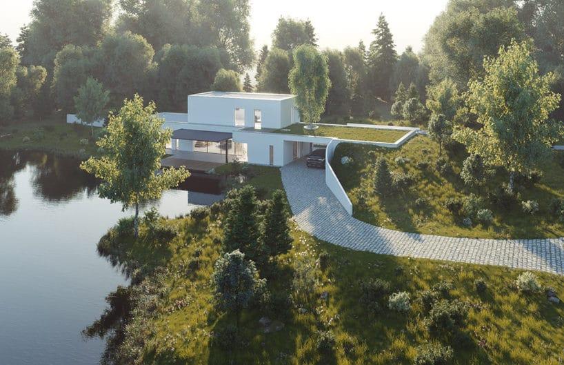 elegancki biały domek nad jeziorem zdwoma kondygnacjami