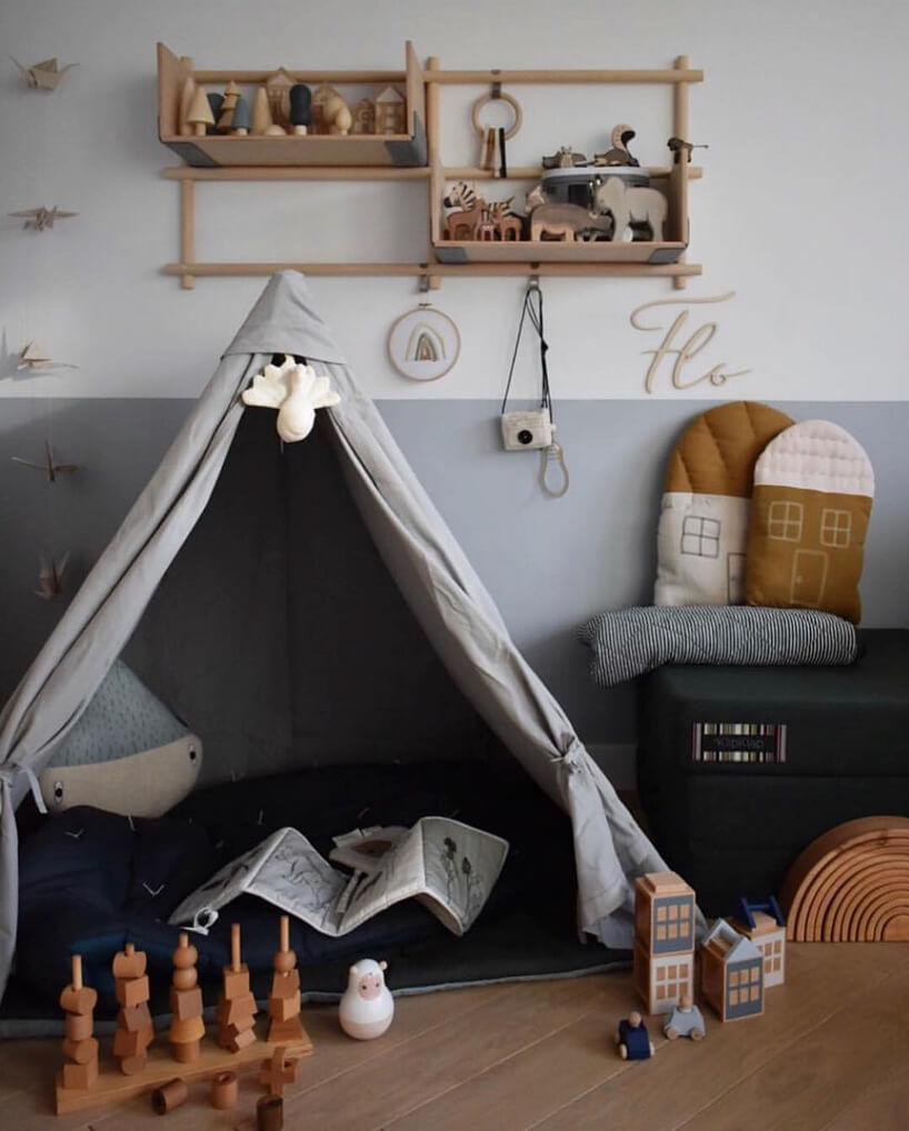 szary namiot dziecięcy indiańskim stylu
