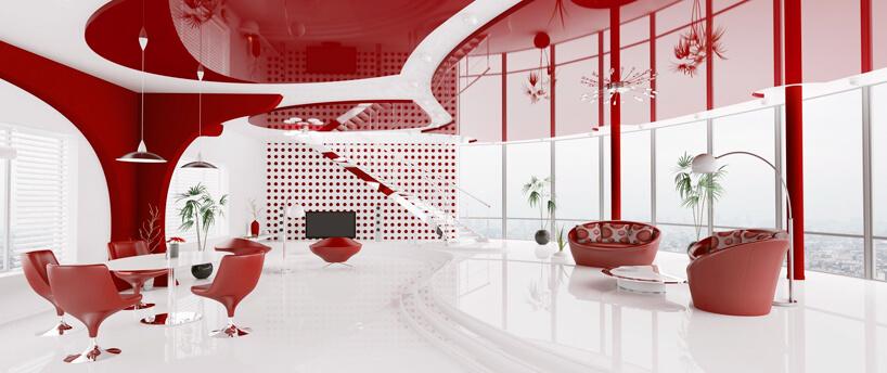 białe wnętrze zczerwonym akcentami inapinanym sufitem wczerwonym kolorze
