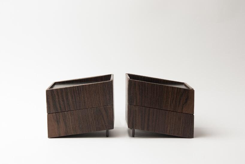 dwie brązowe szafki obok siebie zkolekcji Tilt Natalii Wieteski