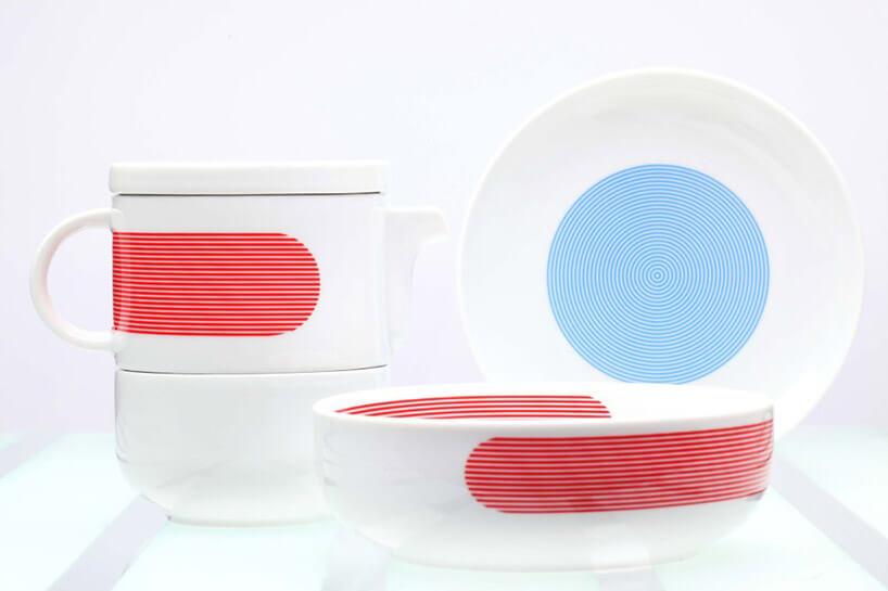 zestaw ceramiki stołowej zmocnymi kolorowymi akcentami