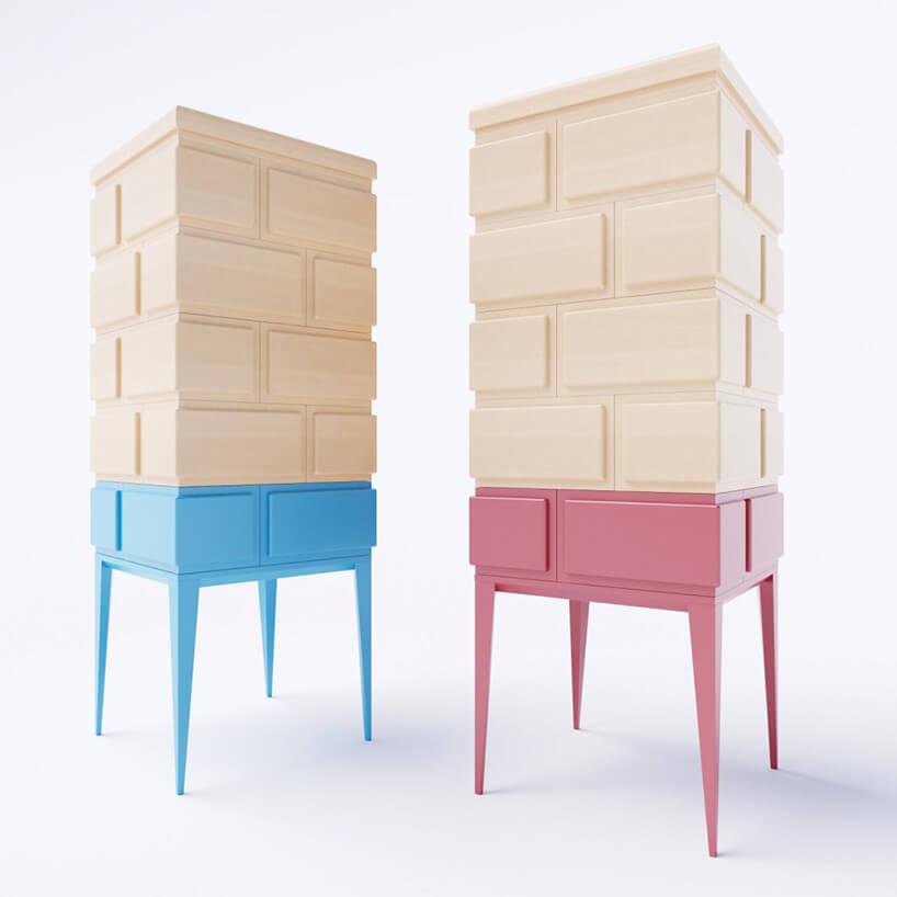 dwie nietypowe drewniane szafki