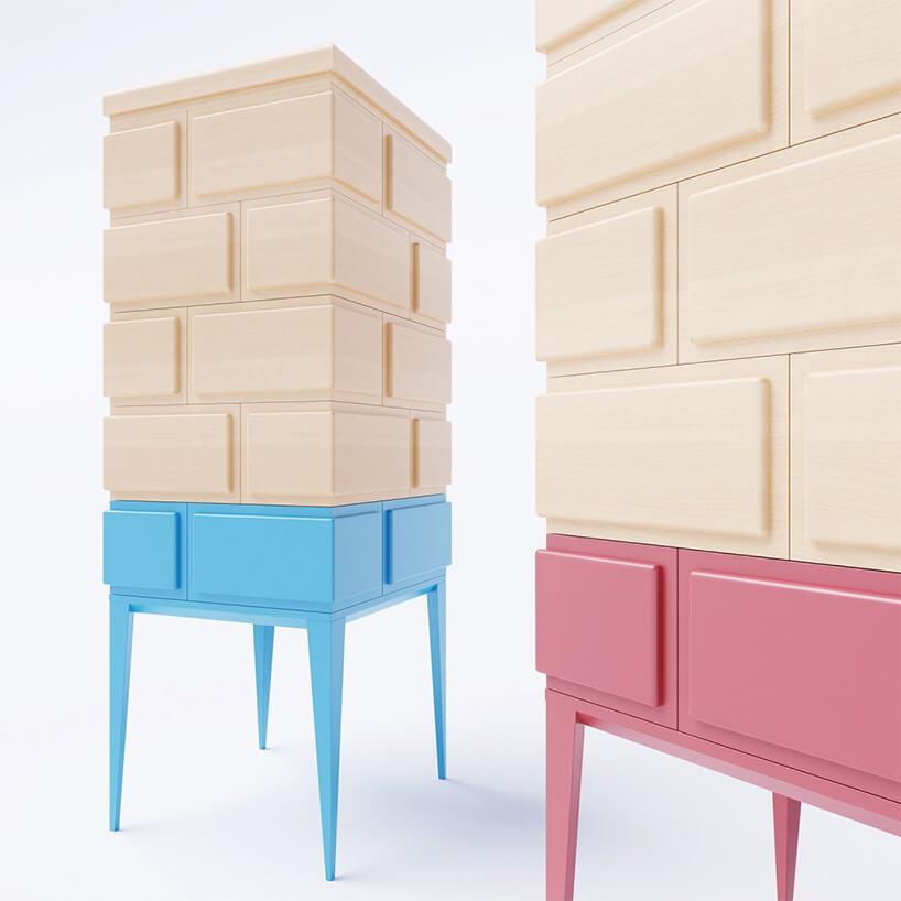 dwie nietypowe drewniane szafki zbliska