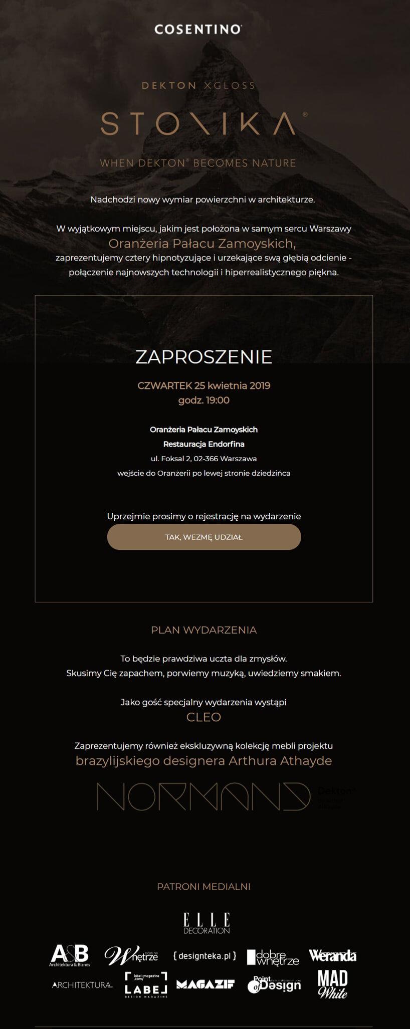 zaproszenie na premierę Cosetino Dekton Stonika
