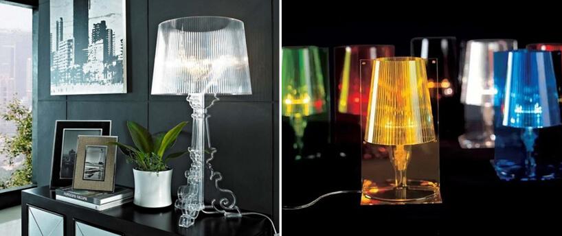 małe lampy wcałości zprzeźroczystego kolorowego plastiku