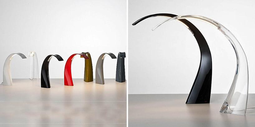 wygięte lampy biurkowe wróżnych kolorach