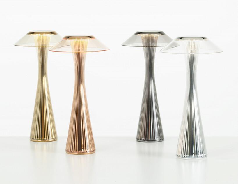 bezprzewodowe lampy plastikowe Space wsrebrnych izłotych kolorach