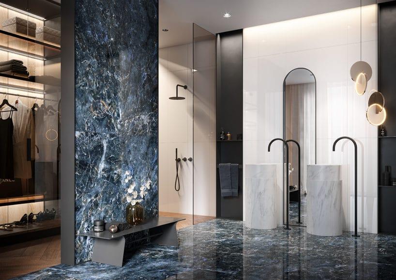 niebieski gres Color Crush od Opoczno waranżacji eleganckiej łazienki zdwoma stojącymi kamiennymi umywalkami