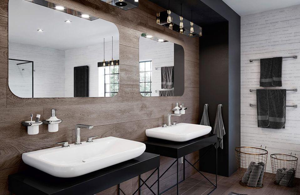 wolnostojące umywalki w ciemnej łazience