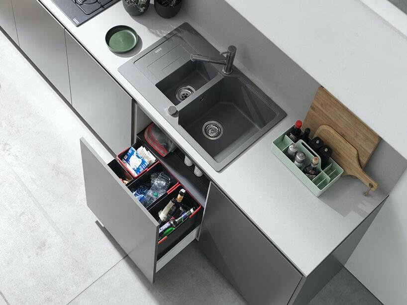 nowoczesne systemy przechowywania wkuchni zszarym kolorem przewodzącym