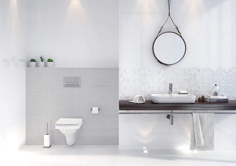 biała łazienka White Magic od Opoczno zciemnym blatem pod umywalką pod okrągłym lustrem zawieszonym na drucie