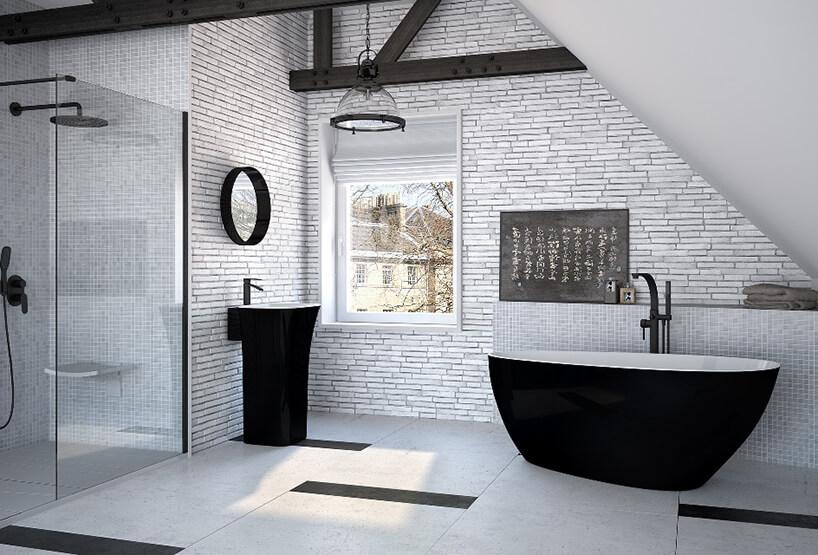 elegancka armatura Wanna Goya B&W oraz umywalka wolnostojąca Assos B&W zczarnym wykończeniem wbiałej łazience zczarnymi belkami pod sufitem