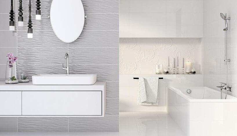 biało szara łaziena zlekko wypukłymi płytkami Structure Pattern od Opoczno