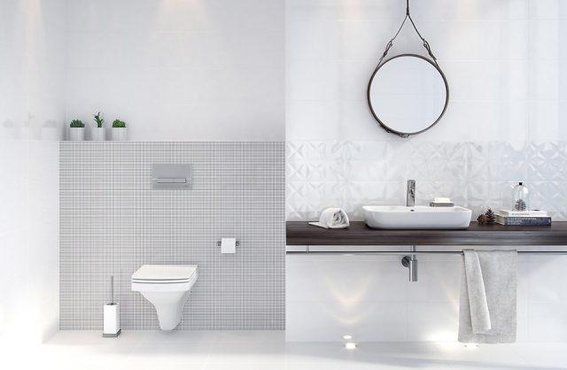 biała łazienka White Magic od Opoczno z ciemnym blatem pod umywalką pod okrągłym lustrem zawieszonym na drucie