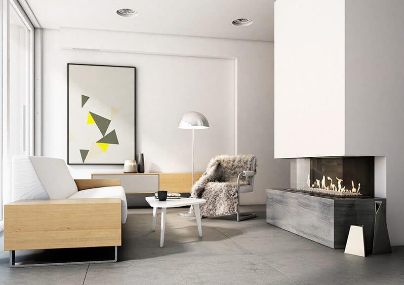 nowoczesny kominek zszybą wformie prostokąta wpasowany wbiały nowoczesny salon