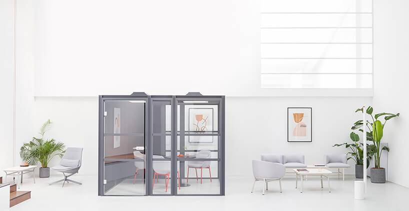 projekt nowoczesnego biura zszarym boxem od MDD