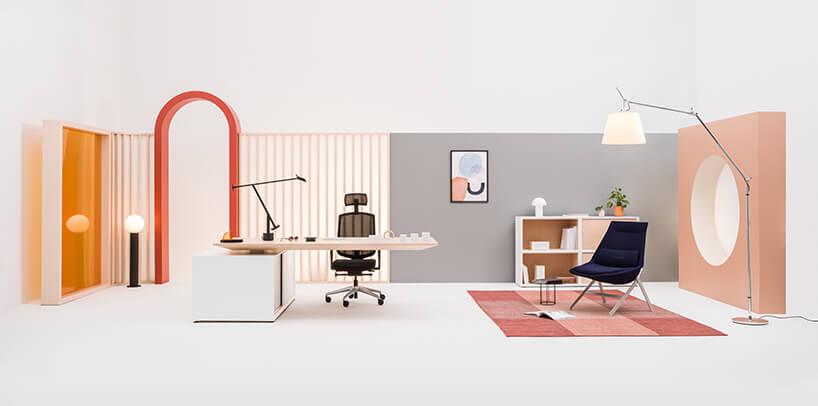 projekt nowoczesnego biura wpastelowych kolorach od MDD