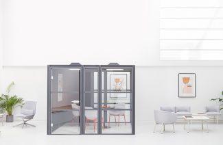 projekt nowoczesnego biura z szarym boxem od MDD