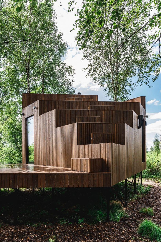 Projekt domu skrytego pośród drzew od Maidla Nature widok ztyłu