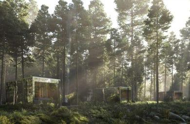 Nowoczesne domki letniskowe z lustrzanymi ścianami w lesie