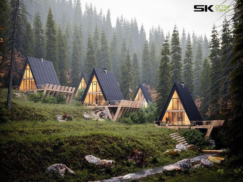 osiedle domków wkształcie trójkąta na zielonej polanie