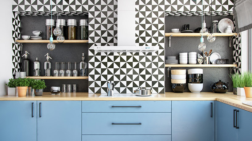 kuchnia zbiało-czarną mozaiką na ścianie