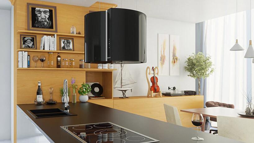 duży czarny okap wdrewnianej kuchni