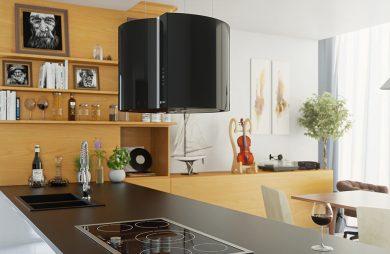 duży czarny okap w drewnianej kuchni
