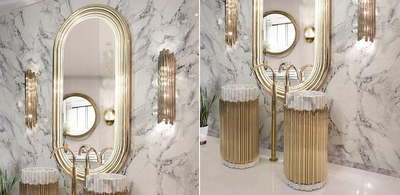 umywalkami ozdobione złotymi elementami