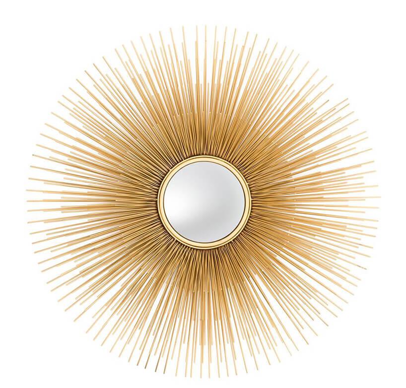eleganckie lustro Solaris Lod Eichholtz małe okrągłe lustro ścienne ze złotymi drobnymi promeiniami